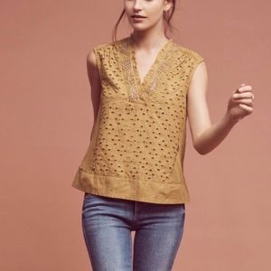 Anthropologie Akemi + Kim Cadiz eyelet ochre top